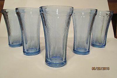 Set Of Five Beautiful Indiana Glass Recollection 14 Oz Blue Glass Tumbler