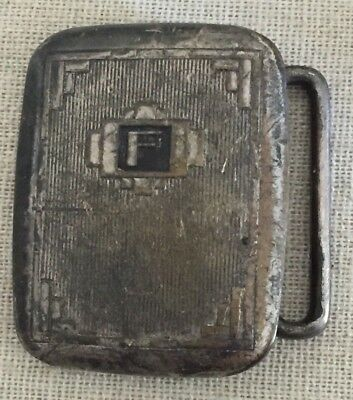 "Vintage Art Deco 1920's 1930's HICKOK Silver Plated Bronze Small Belt Buckle ""F"""
