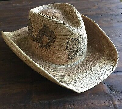 1d942f09cf181d Peter Grimm Mens Straw Round Up Cowboy Hat RARE Dragon Design One Size