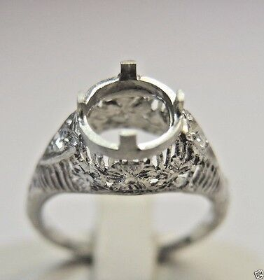 Antique Art Deco Vintage Mounting Setting Platinum Hold 7MM Ring Size 6.25 UK-M