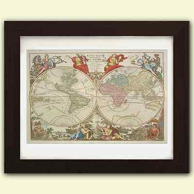 World map antique vintage reproduction print size A3 satin luxury paper Map No.4