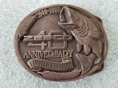 Vintage Zebco 40 Anniversary Belt Buckle 1949-1989 Limited Edition 3D Fishing