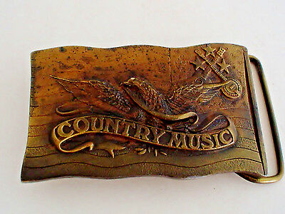 Vintage Brass Country Music Belt Buckle marked Indiana Metal Craft 1977