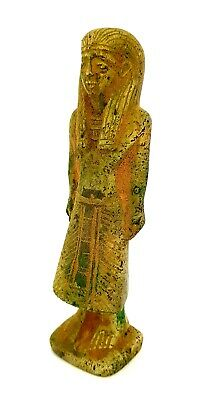 Very Very Rare High Priest of Amun Sculpture Egyptian Antique Faience Statue