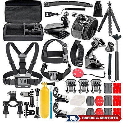 Accessoire Gopro Hero 6 5 4 3 2 1 kit 50 Pieces harnais fixation trepied support