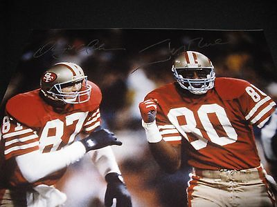 cf86577ef DWIGHT CLARK JERRY Rice Autographed Signed 16X20 San Francisco 49ers ...