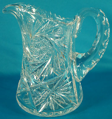 "Antique Heavy American Brilliant Cut Crystal Pitcher 8"" Tall"