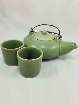 Lane Crawford Teapot with Two Cups Jade Green