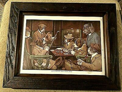 Vintage Wood Framed  His Station and Four Aces  Dogs Playing Poker C.M. Coolidge