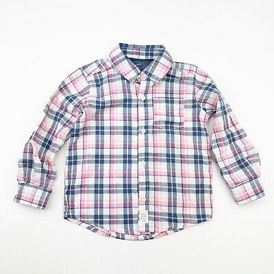 CARTERS EASTER Shirt Boys Sz 24m  2T Pink Gray Plaid Button Dress Top NWT