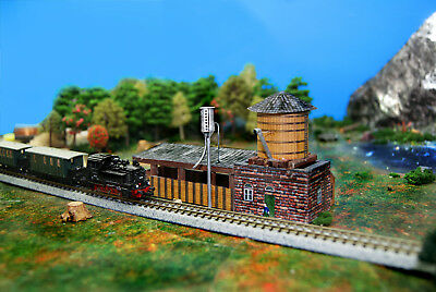 N Scale Combo Sand and Water Tower Facility Building DIY Cardstock Kit