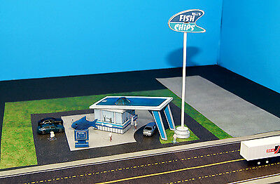 Bill's Fish And Chips Restaurant N Scale Building DIY Paper Cutout Kit