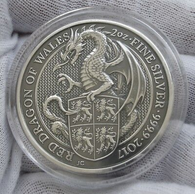 2017 Great Britain .9999 2 oz BU Silver Queen's Beasts Dragon - antique finish
