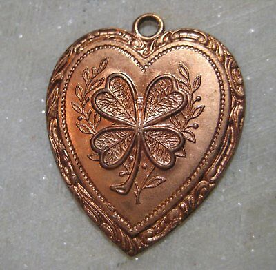 Vintage Heart Pendant Drop, Four Leaf Clover Good Luck Shamrock Die Struck Brass