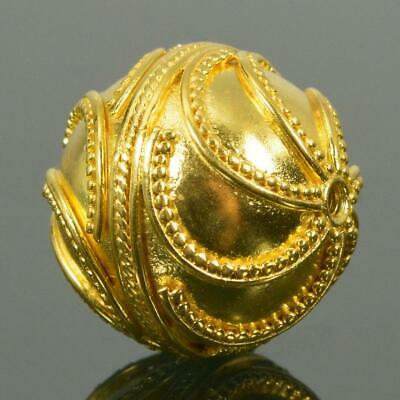 17.80mm Gold Vermeil Sterling Silver Bali Granulation Bead 24K Gold-Plated 6.10g