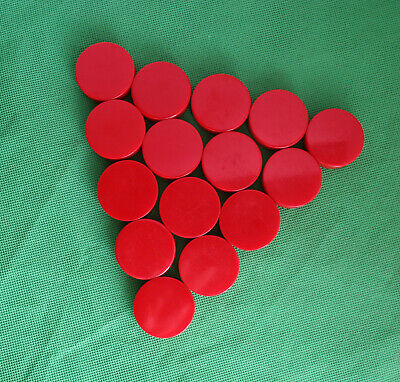 15 Vintage Round Bakelite Pieces in Red Color for Crafts or Backgammon Chips