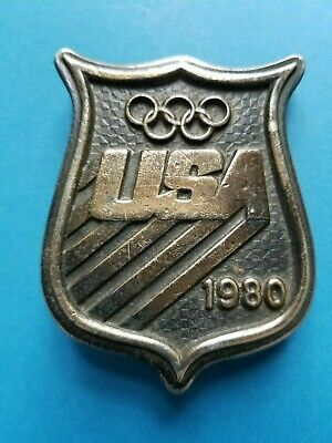 Vintage 1980 USA Olympics Belt Buckle Bergamot Lake Placid Winter Games