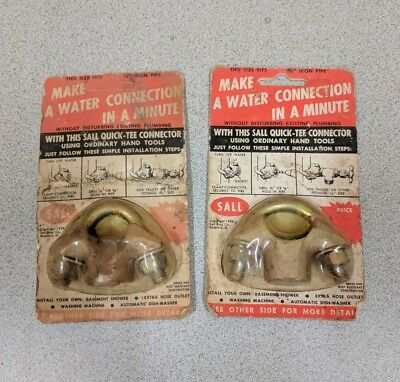 Vintage lot of 2 Brass Sall Water Connection in a Minute, 1958 NOS Plumbing Part
