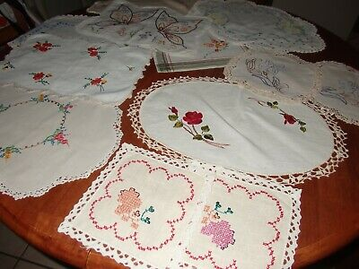Bargain! 12 Vintage Doilies Doilys~Embroided~Florals~Various Sizes~Craft Or Use