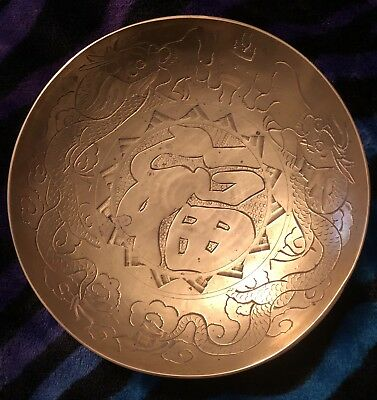 AnTique TWIN DRAGONS ART-JAPANESE -CHINESE-ORIENTAL BRASS Bowl