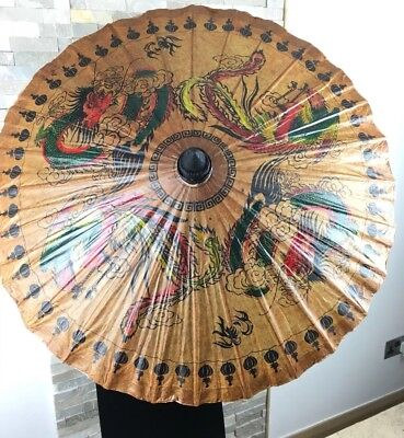 Asian Oriental Chinese Umbrella Hand Made Paper Dragons Lacquered Bamboo Vintage