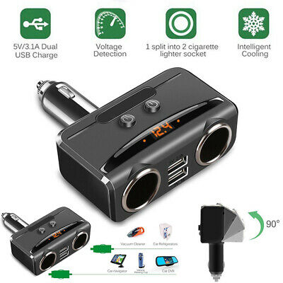 2in1 Car Cigarette Lighter Socket Splitter 12V-24V Dual USB Port Charger Adapter