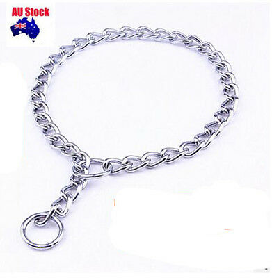 ~ sale Chrome Plated  2MMx45CM Dog Choker Collar Round Link Pet Check Chain