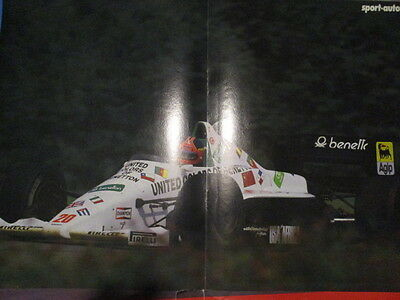 Poster 2 Pages Auto : Monoplace Formule 1 Benetton Pilote Inconnu N°20