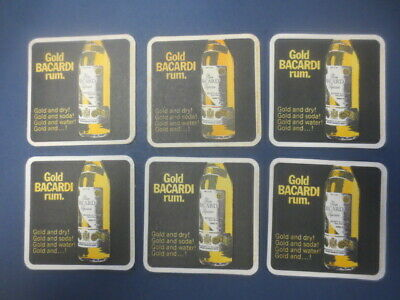 6 x Gold BACARDI  Rum issued 1970,s Advertising Spirit Coasters