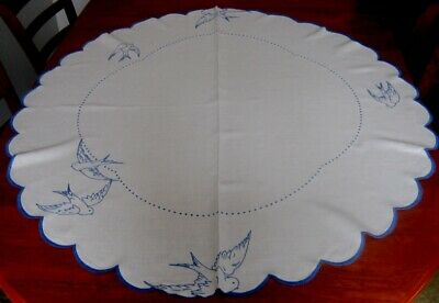 Lovely Vintage Hand Embroidered Tablecloth ~ Doves/blue Birds ~ Cotton ~ Round