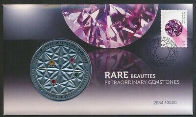 Australia: 2017 Rare Beauties Extraordinary Gemstones 60mm Large Medal PNC