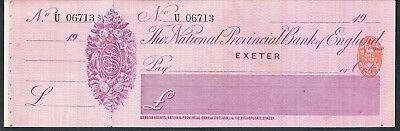 Unused & Counterfoil Cheque The National Provincial Bank Of England Exeter