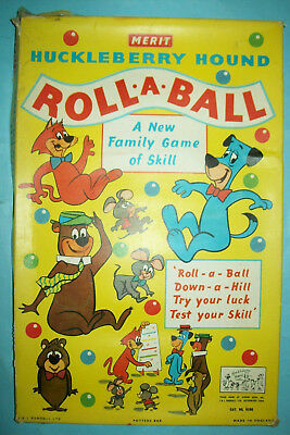Vintage 1959 Huckleberry Hound Roll-A-Ball Game   Hanna-Barbera   Free Shipping