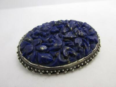 Chinese Filigree Silver Gilt lapis lazulii Brooch Antique art deco C1920 k101