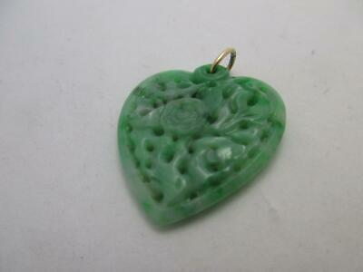14k Chinese Carved green Jade fretted heart pendant antique Art Deco c1920 k102