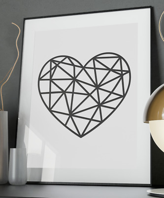 Geometric Heart Inspirational Quote Poster Art Print A6-A0 Decor Wall Gift Love
