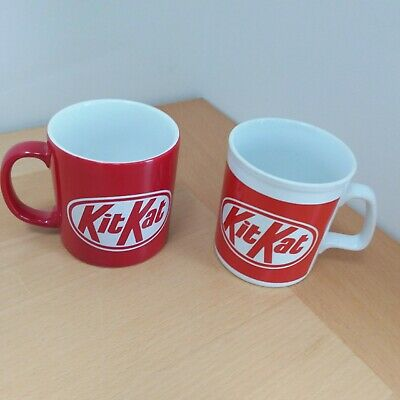 Vintage Nestle KitKat Mugs 2 Red and White mostly excellent condition