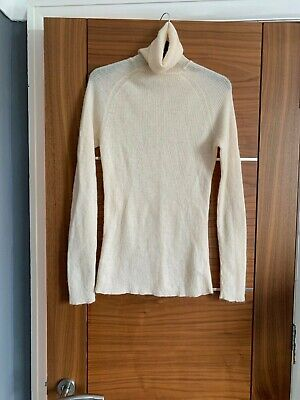 Skinny rib H&M polo necked jumper size small in cream new