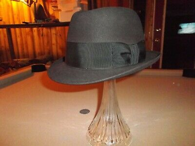 adc45ddd64225 Vintage Black Royal Stetson Fedora Hat Size 7 1 4 With Lee Hat Box