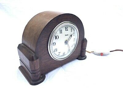 VINTAGE FERRANTI MANTLE CLOCK OAK WOODEN ART DECO WOODEN 1920'/1930's ELECTRIC