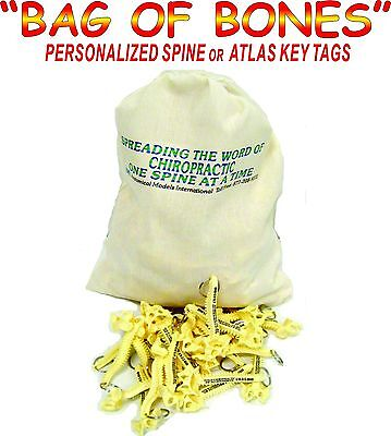 300 Personalized Spine Key Tags - Key Chain  - Bag Of Bones - Chiropractic