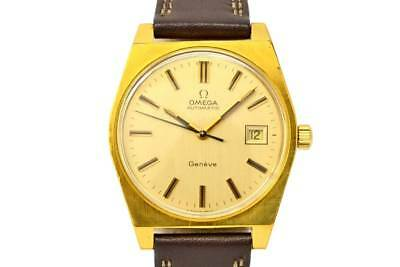 70's Omega Geneva Vintage Wrist watch Mens Gold dial plate 35mm USED Acceptable