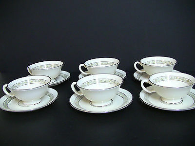 Lenox China  SPRINGDALE Platinum trim Cream Footed Cups and Saucers/Set of 6