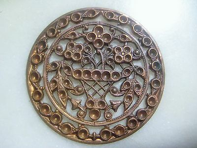 Vintage Brass Filigree: Round French Flower Pendant Medallion, Setting Spaces