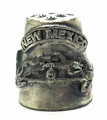 Pewter Hi- Relief Souvenir Thimble New Mexico