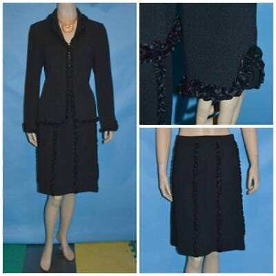 St John Evening Knit Black Jacket Skirt S 6 4 2pc Suit Satin Trims Collared