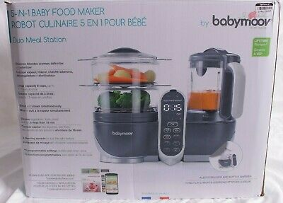 new in box Babymoov Duo Meal Station, Industrial Grey baby food maker