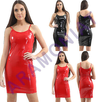 Womens Ladies Dress Vinyl Pvc Bodycon Sleeveless Summer Club Night Clubwear 8-14
