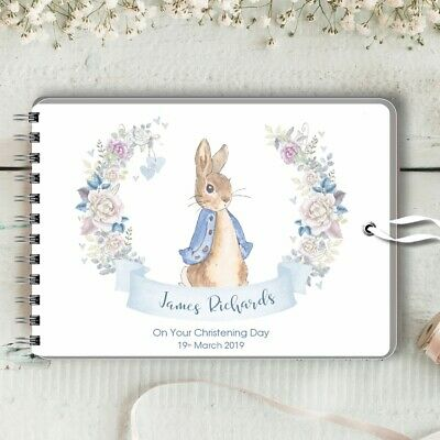 Personalised Guest Book Peter Rabbit Wreath, Christening, Baptism, Birthday Baby