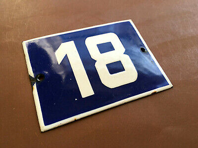 ANTIQUE VINTAGE FRENCH ENAMEL SIGN HOUSE NUMBER 18 DOOR GATE SIGN BLUE 1950's